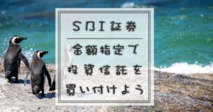 SBI証券金額指定で投資信託